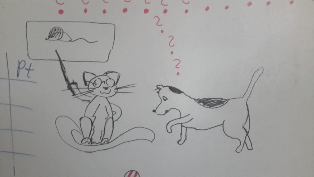 Kot w okularach siedzi i pokazuje pałeczką mysz, narysowaną w zawieszonym nad kotem dymku. Pies patrzy ze zdziwieniem w dół, na koci ogon, nad nim kilka znaków zapytania.