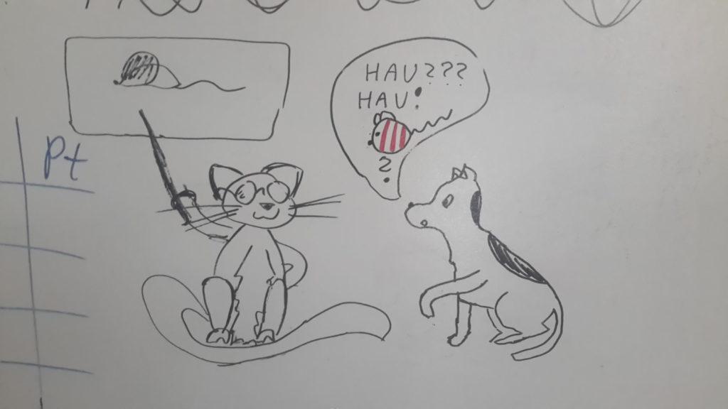 """Kot w okularach siedzi i pokazuje pałeczką na mysz narysowaną w dymku nad nim. Pies patrzy uważnie na kota, trzymając jedną łapę w górze. Pies mówi: """"Hau? Hau!"""", oprócz tego w dymku nad nim widać piłeczkę z uszami i ogonkiem myszy."""