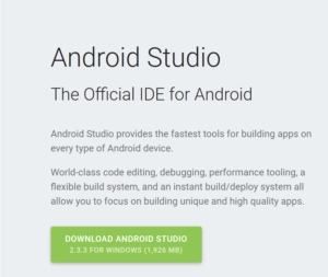 Okienko o tytule Android Studio, the Official IDE for Android i dużym zielonym przyciskiem z napisem Download Android Studio