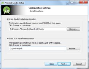 Okienko Configuration Settings, pozwalające wybrać ścieżkę instalacji Android Studio i ścieżkę instalacji Android SDK. Przyciski Back, Next i Cancel