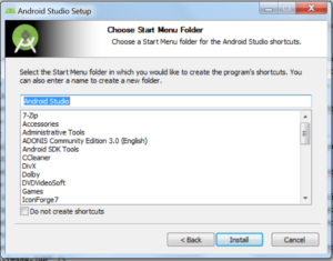 Okienko o tytule Choose Start Menu Folder i miejscem na wpisanie lub wybranie nazwy. Przyciski Back, Install, Cancel