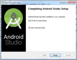 Okienko Completing Android Studio Setup. W środku zaznaczony checkbox Start Android Studio. Przycisk Finish, pozostałe nieaktywne