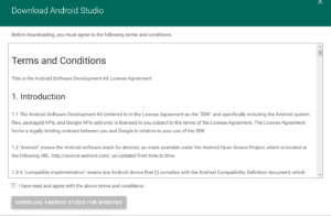 Okienko o tytule Download Android Studio. Terms And Conditions. Na dole niezaznaczony checkbox I have read and agree with the above terms and condition. Poniżej nieaktywny przycisk Download Android Studio For Windows