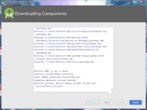 Okienko downloading Components z zakończonym pobieraniem - aktywny przycisk Finish.