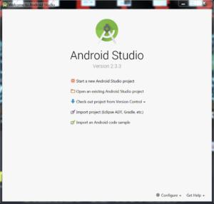 Okienko startowa Android Studio.