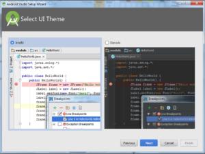 Okienko Select UI Theme, pozwalające wybrać wygląd okna z kodem. Dwa radiobuttony IntellIJ (jasny) i Dracula (ciemny). Przyciski Previous, Next, Cancel, Finish (nieaktywny)