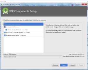 Okienko SDK Components Setup. Zaznaczone wszystkie checkboxy. Przyciski Previous, Next, Cancel, Finish (nieaktywny)