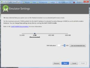Okienko Emulator Settings z suwakiem pozwalającym dostosować ilość miejsca. Przyciski Previous, Next, Cancel, Finish (nieaktywny)
