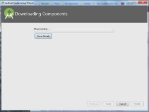 Okienko Downloading Components z paskiem postępu i przyciskiem Show Details. Przyciski Previous (nieaktywny), Next (nieaktywny), Cancel, Finish (nieaktywny)
