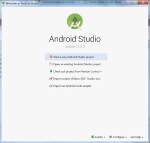 Ekran startowy Android Studio z zaznaczoną pozycją 'Start a new Android Studio Project'