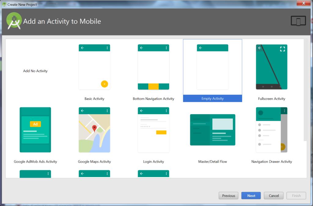 Okienko 'Add Activity To Mobile', pozwalające na wybór rodzaju aktywności z kilku podanych. Zaznaczone 'Empty Activity'. Na dole przyciski Previous, Next, Cancel, Finish (nieaktywny).