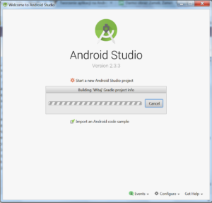 Okienko startowe Android Studio, ponad nim pasek postępu.