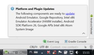 Dymek aktualizacji z tytułem: Platform and plugin updates i linkiem do słowa update
