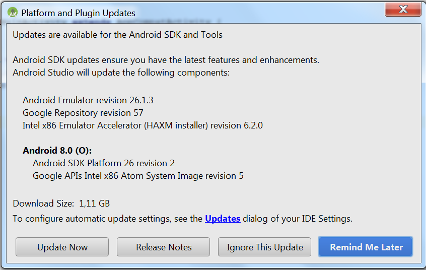 okienko Platform and Plugin updates z przyciskami Update Now, Release Notes, Ignore This Update i Remind Me Later