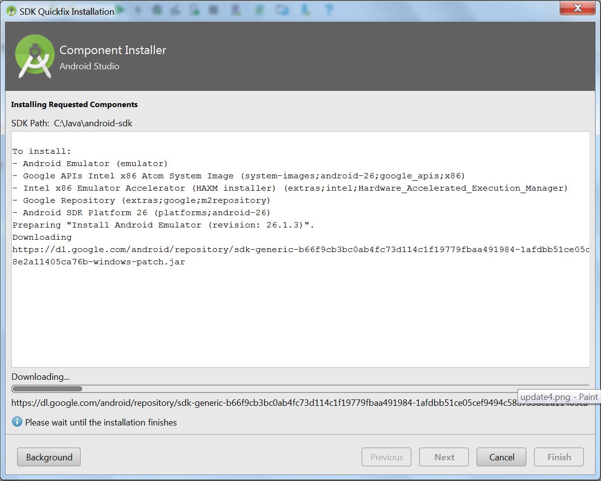 Okienko Component Installer z paskiem postępu pobierania i przyciskami Background, Previous (nieaktywny), Next (nieaktywny), Cancel i Finish (nieaktywny)