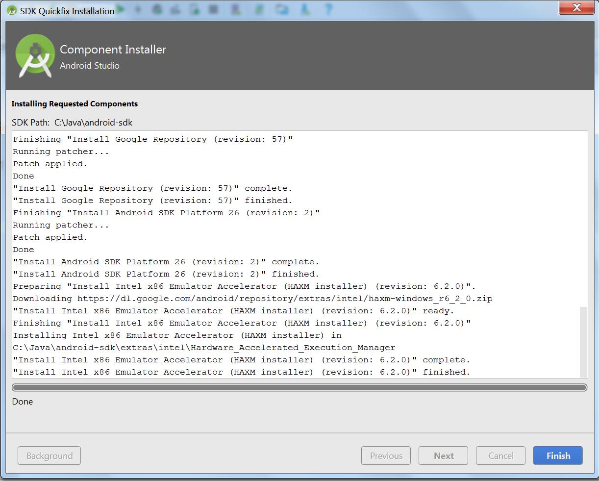 Okienko Component Installer z pełnym paskiem postępu pobierania (done) i przyciskami Background (nieaktywny), Previous (nieaktywny), Next (nieaktywny), Cancel (nieaktywny) i Finish