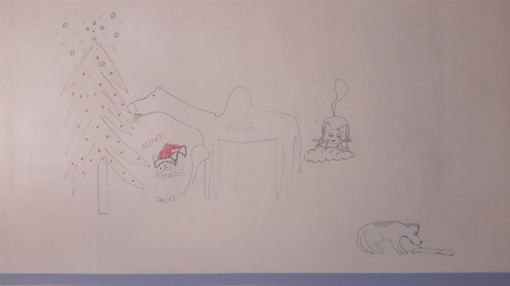 Po lewej stronie choinka z rozpryśniętym na gwiazdki UFO na szczycie. Obok niej stoi wielbug i zjada gałęzie. Ponizej siedzi kot w stroju świętego Mikołaja. Po drugiej stronie ekranu pies znów przymierza się do szmaty. Obok na chmurce siedzi kot. - Całkiem smaczna ta choinka (Jak pies z kotem - odcinek 94) - pies i kot