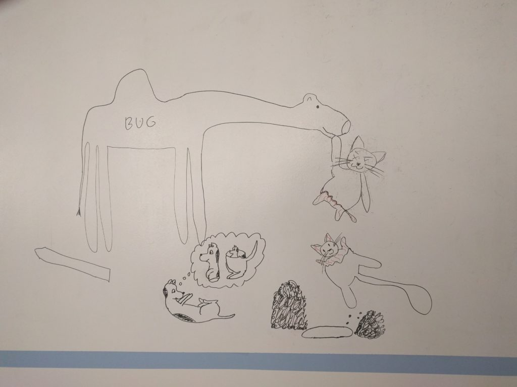 """Wielbug trzyma za przednią łapę górną część rozerwanego, martwego kota - na dole wyrastają mniejsze od reszty, pokryte siateczką żyłek nóżki. Dolna część kota wisi w powietrzu, na górze wyrasta mniejszy on innych, pokryty siateczką żyłek łeb i przednie łapki. Wielbug się uśmiecha. Pod kotem wykopany przez psa grób. Pies przewrócił się na grzbiet i ogląda własny brzuch, myśląc o psie przepołowionym i """"odrastającym"""" podobnie jak kot. - Czy ja też mogę się rozdwoić? (Jak pies z kotem - odcinek 115) - pies i kot"""