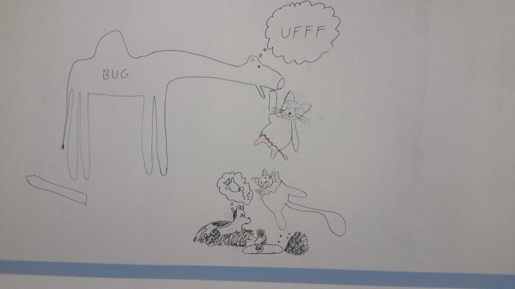 """Wielbug otworzył pysk i wypuścił przednią łapę górnej części rozerwanego, martwego kota - na dole wyrastają mniejsze od reszty, pokryte siateczką żyłek nóżki. Dolna część kota wisi w powietrzu, na górze wyrasta mniejszy on innych, pokryty siateczką żyłek łeb i przednie łapki. Wielbug myśli """"Uff"""". Pod kotem wykopany przez psa grób. Pies leży obok na hałdzie ziemi i ze zdziwieniem przygląda się kotu i rozmyśla o baloniku w kształcie kota - Czemu kot fruwa? (Jak pies z kotem - odcinek 119) - pies i kot"""