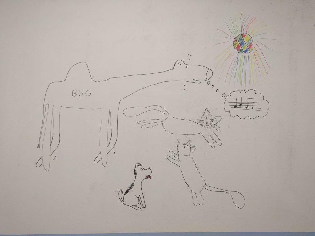 Wielbug kiwa głową w rytm muzyki i podryguje łapami, coś sobie nuci. Pod jego pyskiem kot stoi na tylnych łapach, obok niego siedzi zziajany pies z wywieszonym ozorem. Nad nimi skacze drugi kot. Na górze wisi kolorowa kula dyskotekowa. - Już nie mam siły (Jak pies z kotem - odcinek 123) - pies i kot