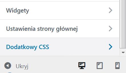 Fragment menu z zaznaczoną pozycją Dodatkowy CSS