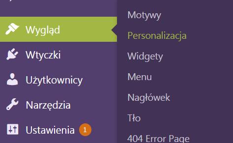 Fragment bocznego menu WordPressa z zaznaczoną pozycją Wygląd i rozwiniętym podmenu z zaznaczoną pozycją Personalizacja.