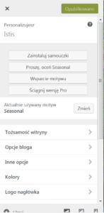Fragment bocznego menu z różnymi pozycjami i przyciskami.